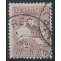 AUSTRALIA - 1924 2/- maroon Kangaroo, 3rd watermark, 'break at upper left', used – ACSC # 38A(2)m