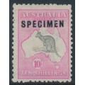 AUSTRALIA - 1917 10/- grey/pink Kangaroo, 3rd wmk, type C SPECIMEN + variety, MNG – ACSC # 48E(D)f+xb
