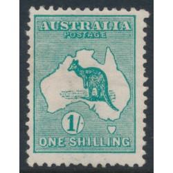AUSTRALIA - 1913 1/- deep green Kangaroo, 1st watermark inverted, MH – ACSC # 30Aa