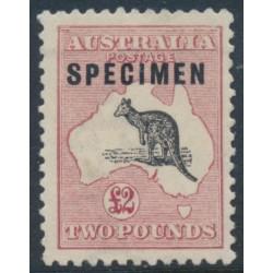 AUSTRALIA - 1919 £2 purple-black/rose Kangaroo, 3rd wmk, SPECIMEN (type C), MNG – ACSC # 56Cxb