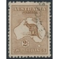 AUSTRALIA - 1916 2/- red-brown (aniline) Kangaroo, 3rd watermark, used – ACSC # 37G