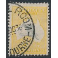 AUSTRALIA - 1932 5/- grey/yellow-orange Kangaroo, CofA watermark, used – ACSC # 46A
