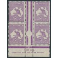 AUSTRALIA - 1932 9d purple Kangaroo, CofA watermark, imprint block of 4 [state II], MH – ACSC # 29C(4)zb