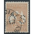 AUSTRALIA - 1929 6d chestnut Kangaroo, SM watermark, perf. OS, used – ACSC # 22Ab