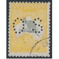 AUSTRALIA - 1929 5/- grey/yellow-orange Kangaroo, SM watermark, perf. OS, CTO – ACSC # 45Awb