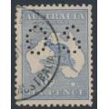 AUSTRALIA - 1915 6d blue Kangaroo, die II, 3rd watermark, perf. OS, used – ACSC # 19Bba