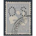 AUSTRALIA - 1915 6d dull grey-blue Kangaroo, die II, 3rd watermark, perf. OS, used – ACSC # 19Eba