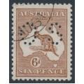 AUSTRALIA - 1923 6d deep chestnut Kangaroo, 3rd watermark, perf. OS, CTO – ACSC # 21Cwc