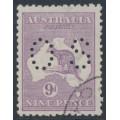 AUSTRALIA - 1919 9d pale violet Kangaroo, die IIB, 3rd watermark, perf. OS, CTO – ACSC # 27Bwa