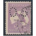 AUSTRALIA - 1919 9d red-violet Kangaroo, die IIB, 3rd watermark, perf. OS, used – ACSC # 27Cba