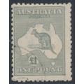 AUSTRALIA - 1924 £1 grey Kangaroo, 3rd watermark, CTO – ACSC # 53Aw