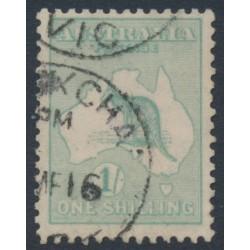 AUSTRALIA - 1915 1/- green [aniline] Kangaroo, 2nd watermark, used – ACSC # 31E