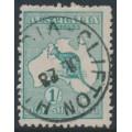 AUSTRALIA - 1916 1/- deep blue-green [aniline] Kangaroo, die II, 3rd watermark, used – ACSC # 32E