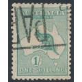 AUSTRALIA - 1915 1/- green Kangaroo, 2nd watermark, used – ACSC # 31A