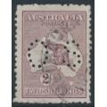 AUSTRALIA - 1924 2/- pale maroon Kangaroo, 3rd watermark, perf. OS, used – ACSC # 38Aba
