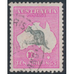 AUSTRALIA - 1917 10/- grey/deep aniline pink Kangaroo, 3rd watermark, used – ACSC # 48B