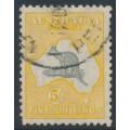 AUSTRALIA - 1929 5/- grey/yellow-orange Kangaroo, SM watermark, used – ACSC # 45A