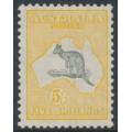 AUSTRALIA - 1929 5/- grey/yellow-orange Kangaroo, SM watermark, MH – ACSC # 45A
