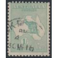 AUSTRALIA - 1915 1/- green (aniline) Kangaroo, 2nd watermark, used – ACSC # 31E