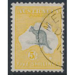 AUSTRALIA - 1913 5/- grey/yellow Kangaroo, 1st watermark, CTO – ACSC # 42Bwb