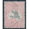 AUSTRALIA - 1932 10/- grey/pink Kangaroo, CofA watermark, used – ACSC # 50A