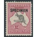 AUSTRALIA - 1919 £2 black/rose Kangaroo, 3rd wmk, SPECIMEN (type B), plus variety, MH – ACSC # 56B(D)n+x