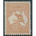 AUSTRALIA - 1932 6d pale chestnut Kangaroo, CofA watermark, MH – ACSC # 23B