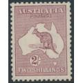 AUSTRALIA - 1935 2/- pale maroon Kangaroo, CofA watermark, 'nicks in left frame', MH – ACSC # 40B(2)n