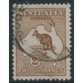 AUSTRALIA - 1916 2/- deep red-brown (aniline) Kangaroo, 3rd watermark, used – ACSC # 37G