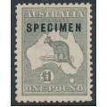 AUSTRALIA - 1924 £1 deep grey Kangaroo, 3rd watermark, o/p SPECIMEN (type C2), MH – ACSC # 53Bxf