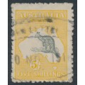AUSTRALIA - 1915 5/- grey/yellow Kangaroo, 2nd watermark, used – ACSC # 43A
