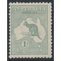 AUSTRALIA - 1916 1/- dull greyish green Kangaroo, die II, 3rd watermark, MH – ACSC # 32C