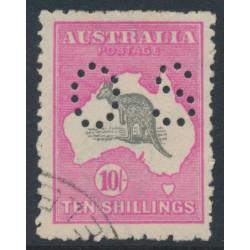 AUSTRALIA - 1917 10/- grey/intense aniline pink Kangaroo, 3rd watermark, perf. OS, CTO – ACSC # 48Dwa
