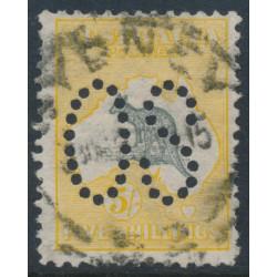 AUSTRALIA - 1913 5/- grey/yellow Kangaroo, 1st watermark, perforated large OS, used – ACSC # 42Bba