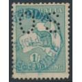 AUSTRALIA - 1915 1/- bright blue-green Kangaroo, 2nd watermark, perf. OS, used – ACSC # 31Bba
