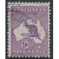 AUSTRALIA - 1916 9d violet Kangaroo, die II, inverted 3rd watermark, used – ACSC # 26Aa