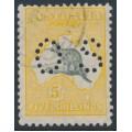 AUSTRALIA - 1929 5/- greyish black/yellow Kangaroo, SM watermark, perf. OS, CTO – ACSC # 45Bwb