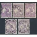 AUSTRALIA - 1919 9d violet Kangaroo, die IIB, 3rd watermark shade set, used – ACSC # 27A-27D+27F