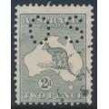 AUSTRALIA - 1915 2d grey Kangaroo, 2nd watermark, 'retouched left frame', used – ACSC # 6A(1)k + ba