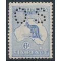 AUSTRALIA - 1915 6d blue Kangaroo, die II, 3rd watermark, perf. OS, 'dry ink', MH – ACSC # 19Ac + ba
