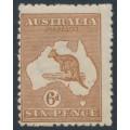 AUSTRALIA - 1923 6d chestnut Kangaroo, 3rd watermark, 'broken leg on 'Roo', MH – ACSC # 21A(3)d
