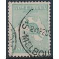 AUSTRALIA - 1916 1/- blue-green [aniline] Kangaroo, die II, 3rd watermark, used – ACSC # 32E