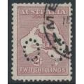 AUSTRALIA - 1929 2/- maroon Kangaroo, SM watermark, perf. OS, used – ACSC # 39Ab
