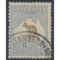 AUSTRALIA - 1916 £1 chocolate/dull blue Kangaroo, 3rd watermark, used – ACSC # 52A