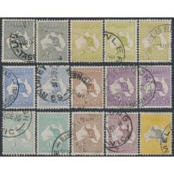 AUSTRALIA - 1915-1924 2d to 5/- Kangaroos, 3rd watermark set of 15, used – SG # 35-42 + 73-74