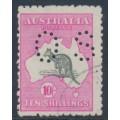 AUSTRALIA - 1917 10/- grey/deep aniline pink Kangaroo, 3rd watermark, perf. OS, CTO – ACSC # 48Bwa