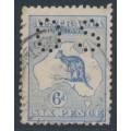 AUSTRALIA - 1915 6d blue Kangaroo, die II, 3rd watermark, perf. OS, 'dry ink', used – ACSC # 19Ac + ba