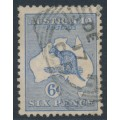 AUSTRALIA - 1915 6d ultramarine Kangaroo, die II, 3rd watermark inverted, used – ACSC # 19Aa