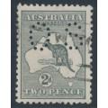 AUSTRALIA - 1915 2d grey Kangaroo, die I, 3rd watermark, perf. OS, 'colour flaw SE', used – ACSC # 7B(U)d+ba