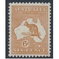 AUSTRALIA - 1932 6d chestnut Kangaroo, CofA watermark, MH – ACSC # 23A